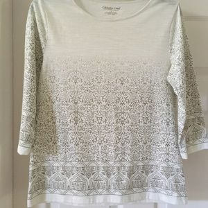 Coldwater Creek Cream Top with Indian print